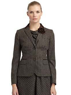 Moschino Cheap And Chic - Suede-Trim Glen Plain Felted Blazer