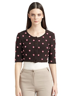 Moschino Cheap And Chic - Pearlized Flower Cropped Cardigan