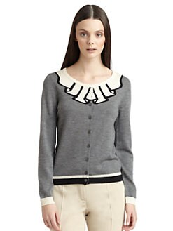 Moschino Cheap And Chic - Intarsia Knit Wool Cardigan
