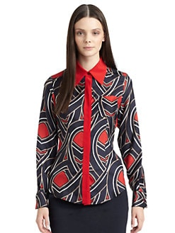 Moschino Cheap And Chic - Graphic Print Silk Twill Blouse