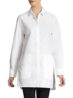 Calvin Klein Collection - Cotton Button-Front Tunic Blouse