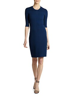 Calvin Klein Collection - Silk/Cotton Ribbed Knit Dress