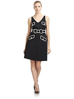 Moschino Cheap And Chic - Contrast-Trim Brushed Cotton Dress/Black