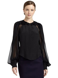 Zac Posen - Silk Chiffon Rosette Blouse