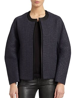 Calvin Klein Collection - Textured Leather Trim Jacket