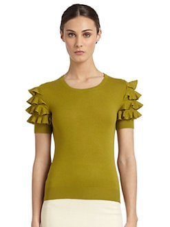 Moschino Cheap And Chic - Silk & Cashmere Ruffled-Sleeve Sweater