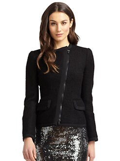 Moschino Cheap And Chic - Asymmetric Zip Boucle Jacket