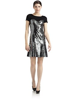 Moschino Cheap And Chic - Sweetheart Sequin Flared Jersey Dress