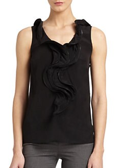 Moschino Cheap And Chic - Silk Zipper-Trimmed Ruffled Top