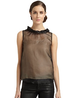 Moschino Cheap And Chic - Ruffle-Collar Sleeveless Sheer Top