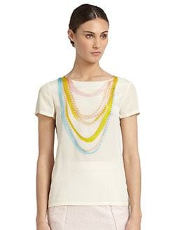Moschino Cheap And Chic - Silk Pearl Necklace-Print Top