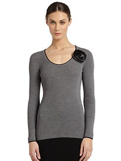 Moschino Cheap And Chic - Rosette-Embellished Ribbed Wool Sweater