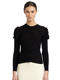 Moschino Cheap And Chic - Puff-Shoulder Braided Knit Cardigan