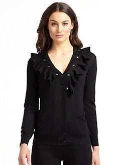 Moschino Cheap And Chic - Wool Snap-On Ruffle-Trimmed Cardigan