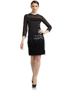 Philosophy di Alberta Ferretti - Art Deco Long-Sleeve Shift Dress