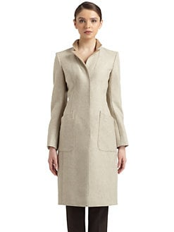 Philosophy di Alberta Ferretti - Leather Lapel Tweed Coat
