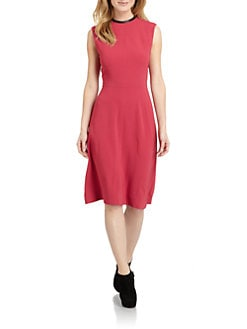 Yigal Azrouel - Leather Trim Sheath Dress