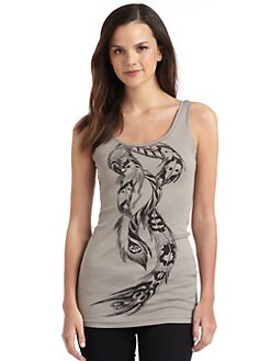 Horiyoshi III - Feather-Print Cotton Tank Top
