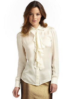 Moschino Cheap And Chic - Silk Satin Ruffle Blouse