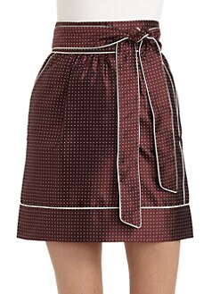 Dolce & Gabbana - Pin Dot-Print Silk Piped Skirt