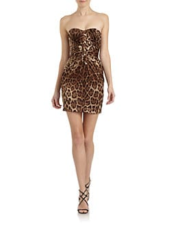 Dolce & Gabbana - Leopard-Print Stretch Silk Strapless Dress
