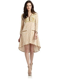 Veronica Beard - Stretch Silk Mixed-Pattern Swing Dress