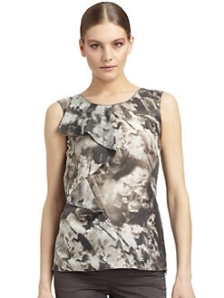 Costume National - Cascading Ruffle Print Silk Top