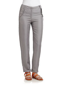 Costume National - Silk Satin Cuffed Trousers