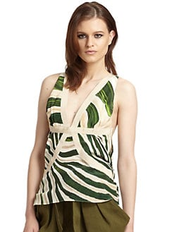 Roberto Cavalli - Silk Abstract Ribbon Trim Tank