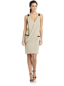KaufmanFranco - Draped Leather Detail Belted Dress/Khaki