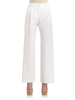 Giorgio Armani - Cotton Pleated Wide Leg Pants