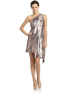 KaufmanFranco - Sequin One-Shoulder Draped Cocktail Dress