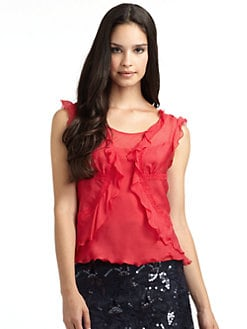 Philosophy di Alberta Ferretti - Lace-Trim Chiffon Ruffle Blouse