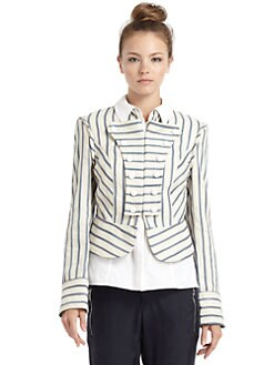 Veronica Beard - Striped Military Jacket