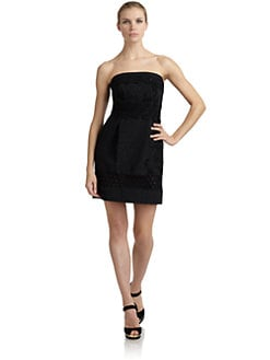 Philosophy di Alberta Ferretti - Embroidered Lace Trim Strapless Dress