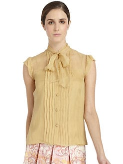 Philosophy di Alberta Ferretti - Silk Pleated Bib Tie Blouse