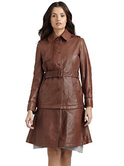 Philosophy di Alberta Ferretti - Belted Leather Convertible Jacket