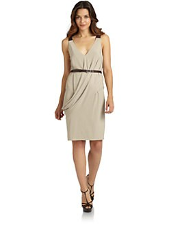 KaufmanFranco - Belted Drape Jersey Dress
