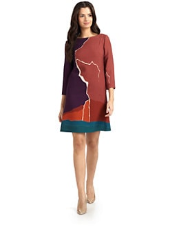 Alberta Ferretti - Printed Wool Crepe Dress