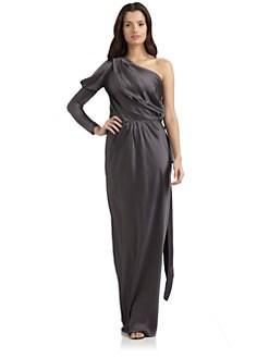Alberta Ferretti - Silk Satin One-Shoulder Gown