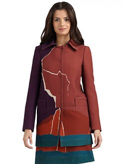 Alberta Ferretti - Printed Wool Crepe Long Jacket