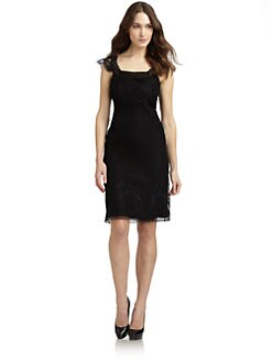Alberta Ferretti - Silk Chiffon & Lace Chemise Dress