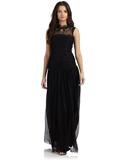 Alberta Ferretti - Silk Chiffon & Lace Gown