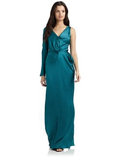 Alberta Ferretti - Silk Satin One-Sleeve Gown/Teal