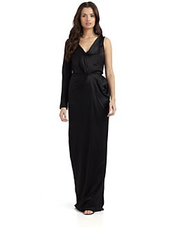 Alberta Ferretti - Silk Satin One-Sleeve Gown/Black