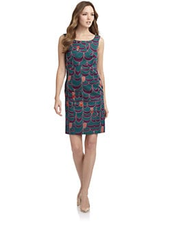 Alberta Ferretti - Wool/Silk Mod Print Shift Dress
