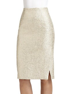 Moschino - Woven Metallic Pencil Skirt
