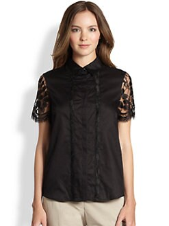 La Via 18 - Lace-Sleeve Blouse