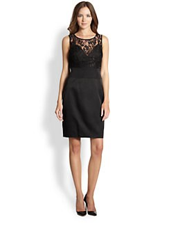 La Via 18 - Lace-Detail Fitted Sheath