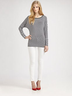 MICHAEL MICHAEL KORS - Asymmetrical-Stripe Dolman Top